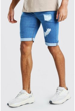 Mid blue Skinny Fit Denim Short With Rips