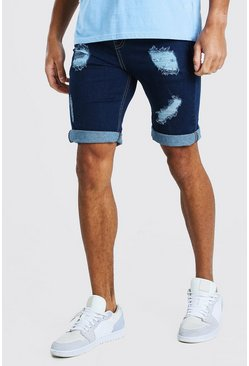 Dark blue Skinny Fit Denim Short With Rips