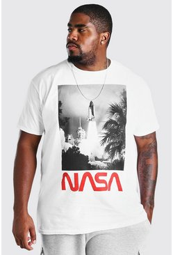 White Big and Tall NASA Launch License T-Shirt