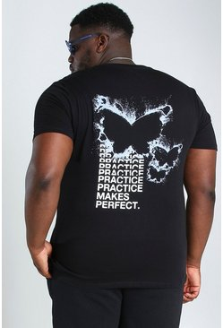 Black Big and Tall Butterfly Back Print T-Shirt