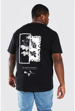 Black Big and Tall Spliced Rose Back Print T-Shirt