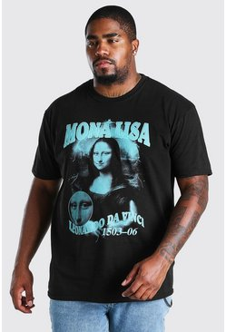 Black Big and Tall Mona Lisa Hommage Print T-Shirt