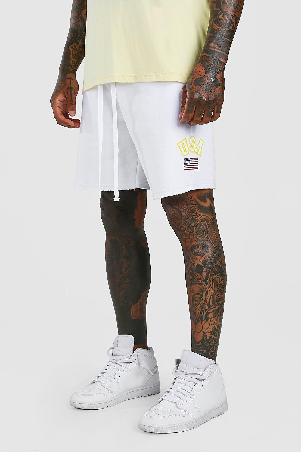 mens loose fit jersey short with usa print - white