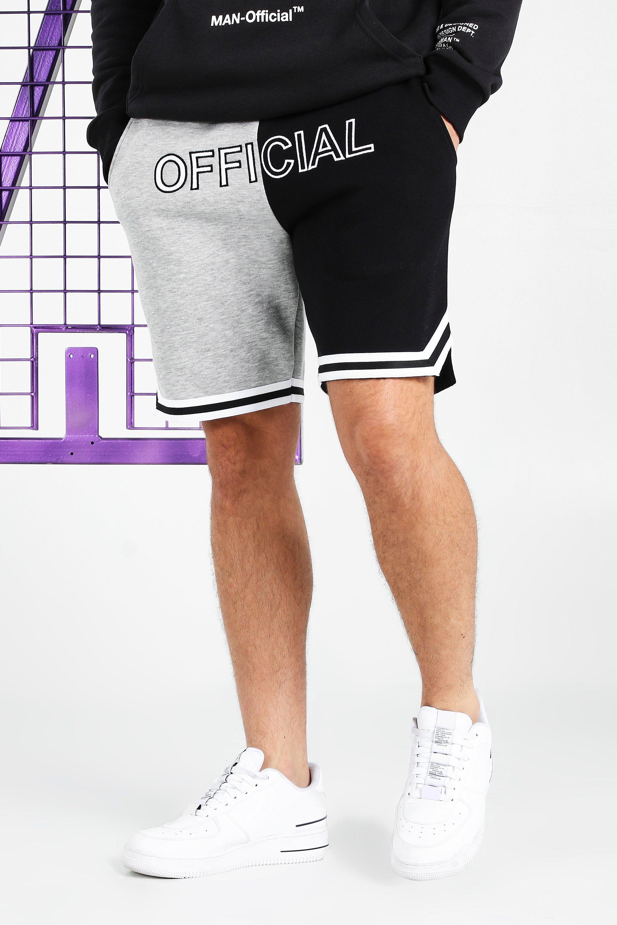 mens official man boxing short with side tape - grey