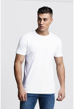 White Basic t-shirt med rund hals