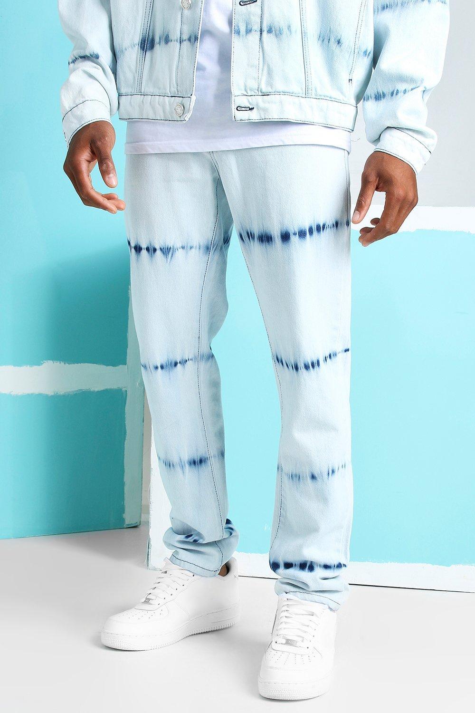 Men's Vintage Pants, Trousers, Jeans, Overalls Mens Skinny Fit Bleached Jeans - Blue $27.00 AT vintagedancer.com