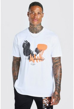 White Oversized Official MAN Eagle Print T-Shirt