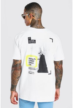 White Oversized MAN Rocket Back Print T-Shirt