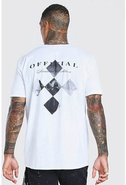 White Oversized MAN Statue Back Print T-Shirt