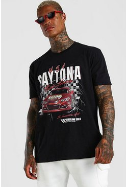 Black Oversized Car Graphic Print T-Shirt