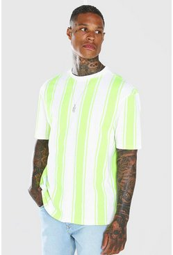 Neon-yellow Oversized Vertical Stripe T-Shirt