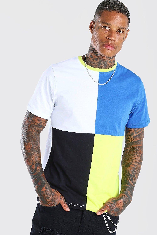 80s Men's Clothing | Shirts, Jeans, Jackets for Guys Mens Colour Block T-Shirt - White $18.00 AT vintagedancer.com