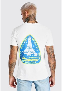 White NASA Rocket Back Print License T-Shirt