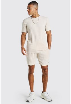 Taupe Stripe Knitted T-Shirt & Short Set With Tab