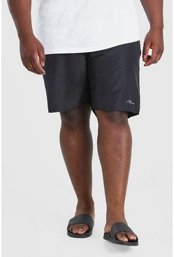 Black Big & Tall MAN Signature Mid Length Swim Short