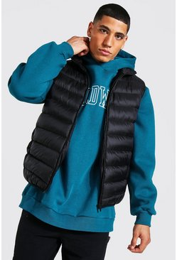 Quilted funnel neck gilet, Black