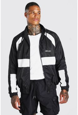Black Colourblock Zip Through Cagoule