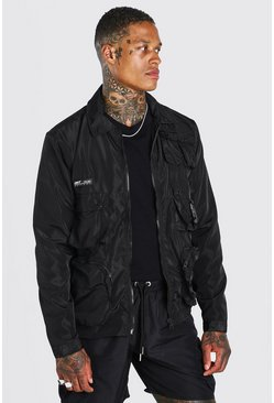 Black Multi Pocket Zip Through Utility Jacket