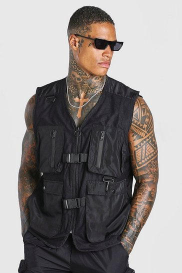 Black Multi Pocket Zip Through Utility Vest