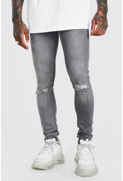 Grey Skinny Jeans With Ripped Knee