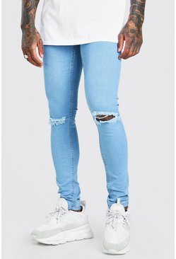 Skinny Jeans With Ripped Knee, Light blue