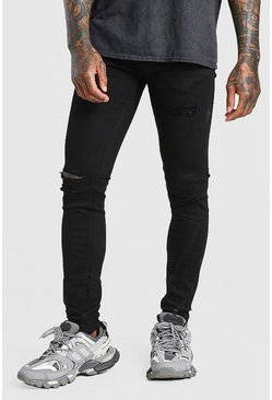 Black Skinny Jeans With Multi Rips
