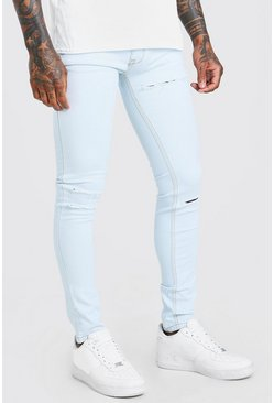 Bleach wash Skinny Jeans With Multi Rips