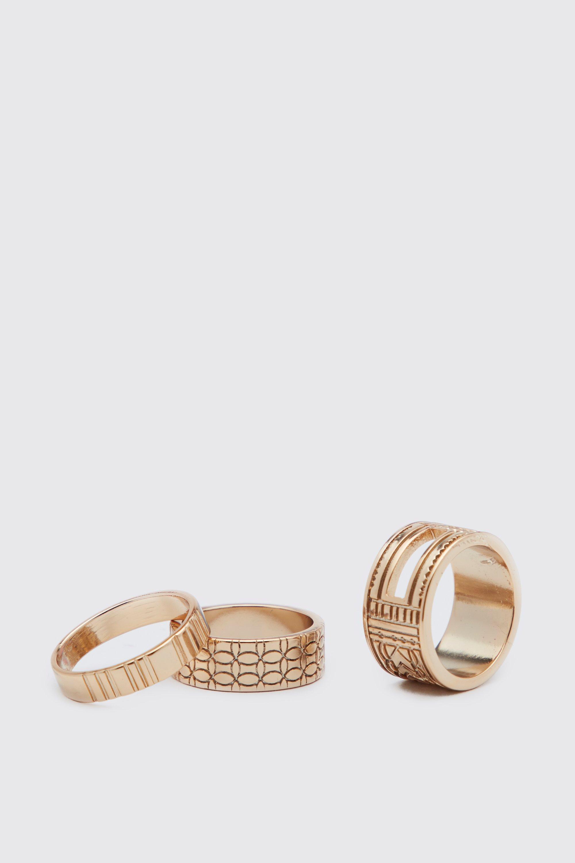 mens 3 pack textured ring set - metallics