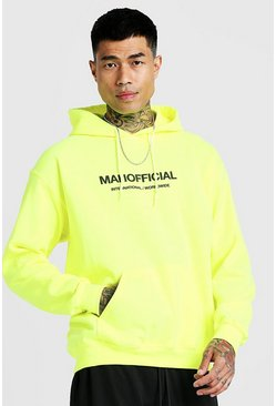 Herr Neon-yellow MAN Official Puff Print Hoodie