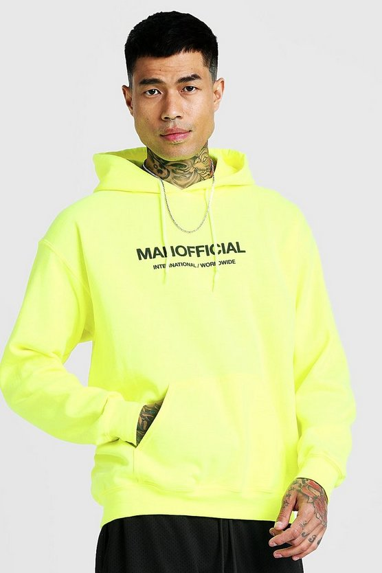 MAN Official Puff Print Hoodie, Neon-yellow, Uomo