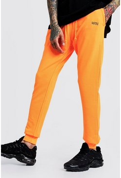 Original MAN Slim Fit Neon Jogger, Neon-orange, HERREN