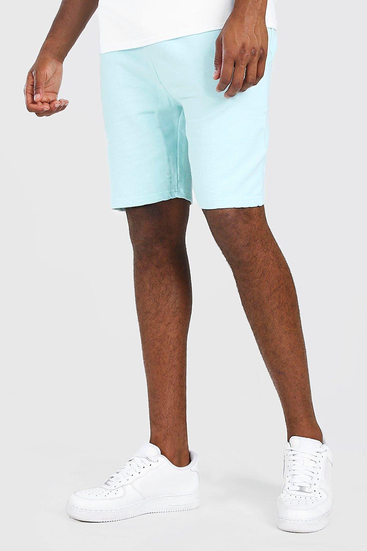 mens mid length acid wash jersey short - blue