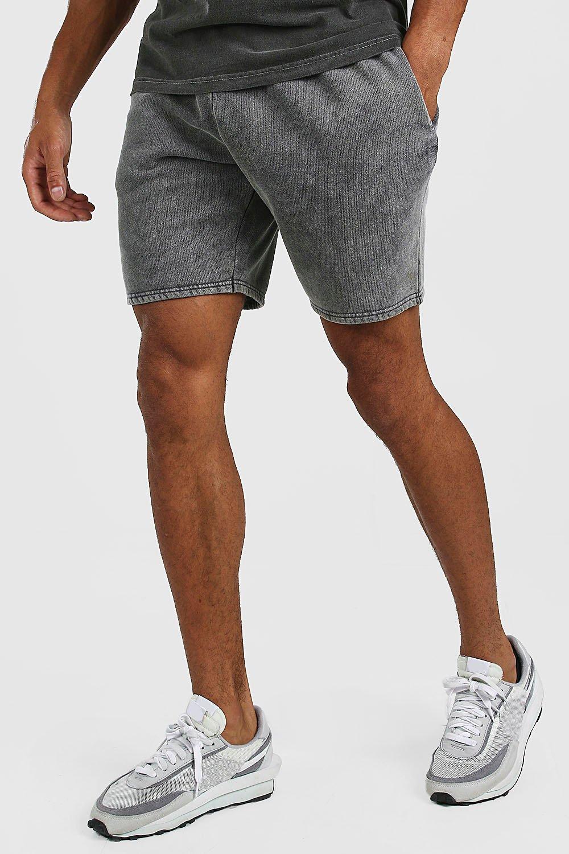 mens mid length acid wash jersey short - grey