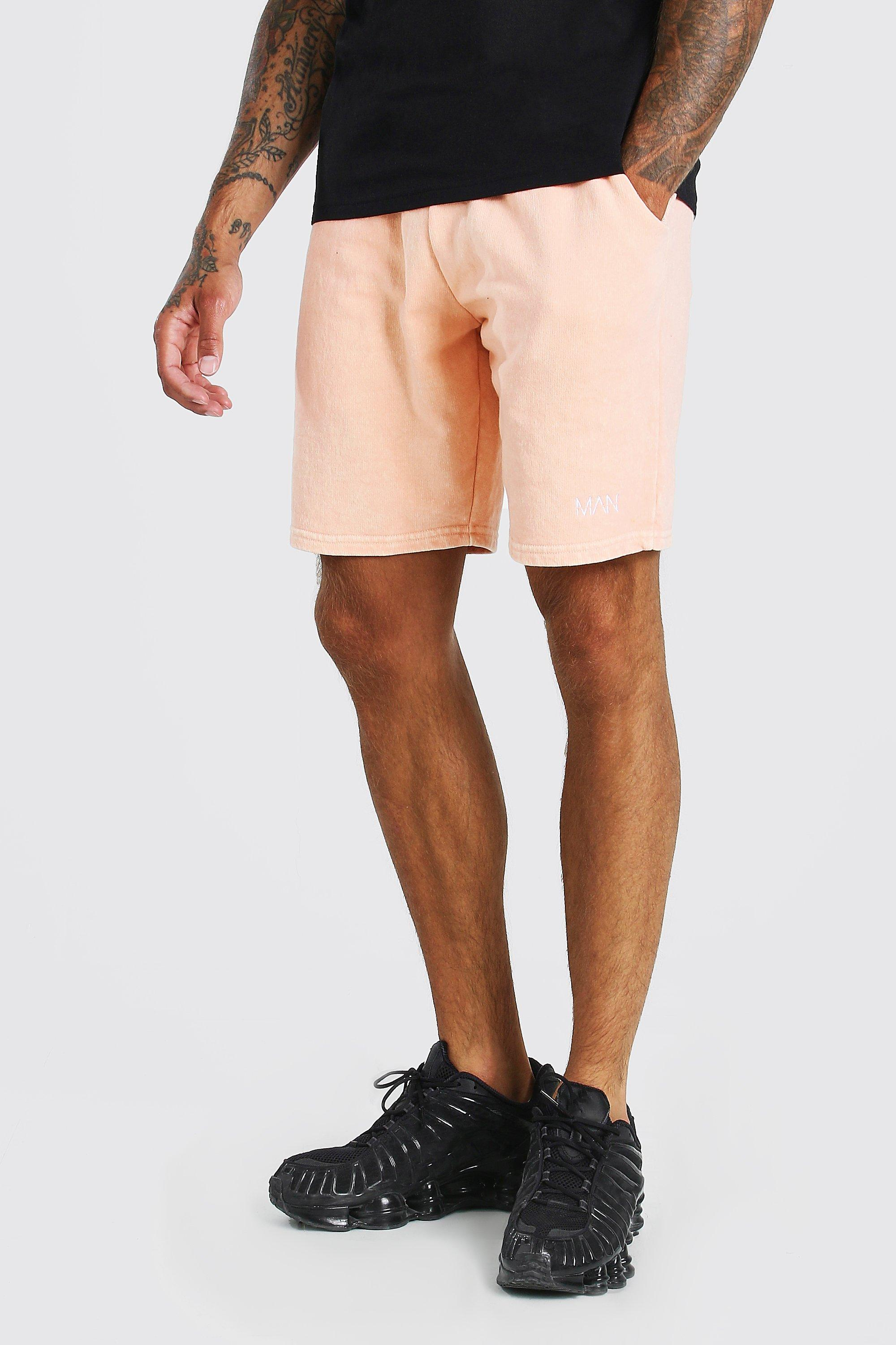mens original man pigment wash jersey short - orange