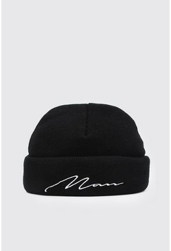 Black MAN Script Mini Beanie