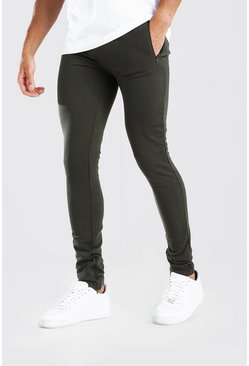 Khaki Skinny Fit Jogger With Ankle Zips