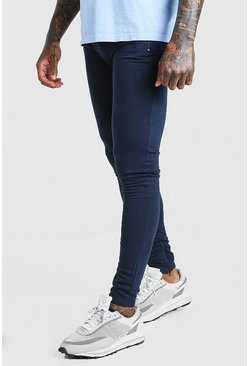 Navy Skinny Fit Jogger With Ankle Zips