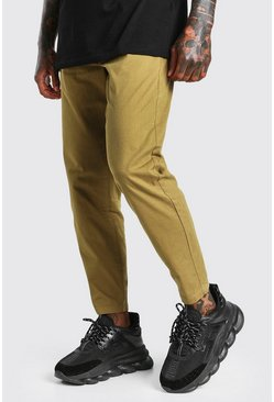Khaki Elastic Waist Skinny Fit Chino Pants With Cuff