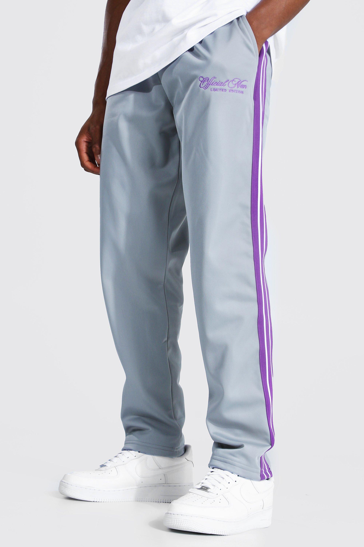mens grey regular official man tape tricot joggers, grey
