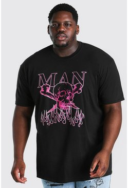 Black Big And Tall MAN Skull Print T-Shirt