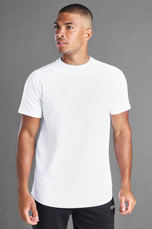 mens man reflective box longline raglan t-shirt - white