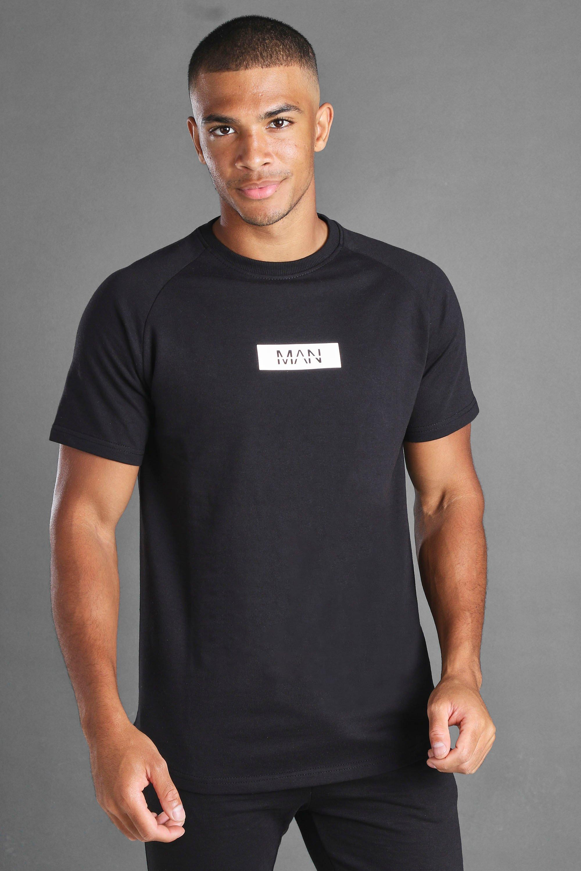 mens man reflective box longline raglan t-shirt - black