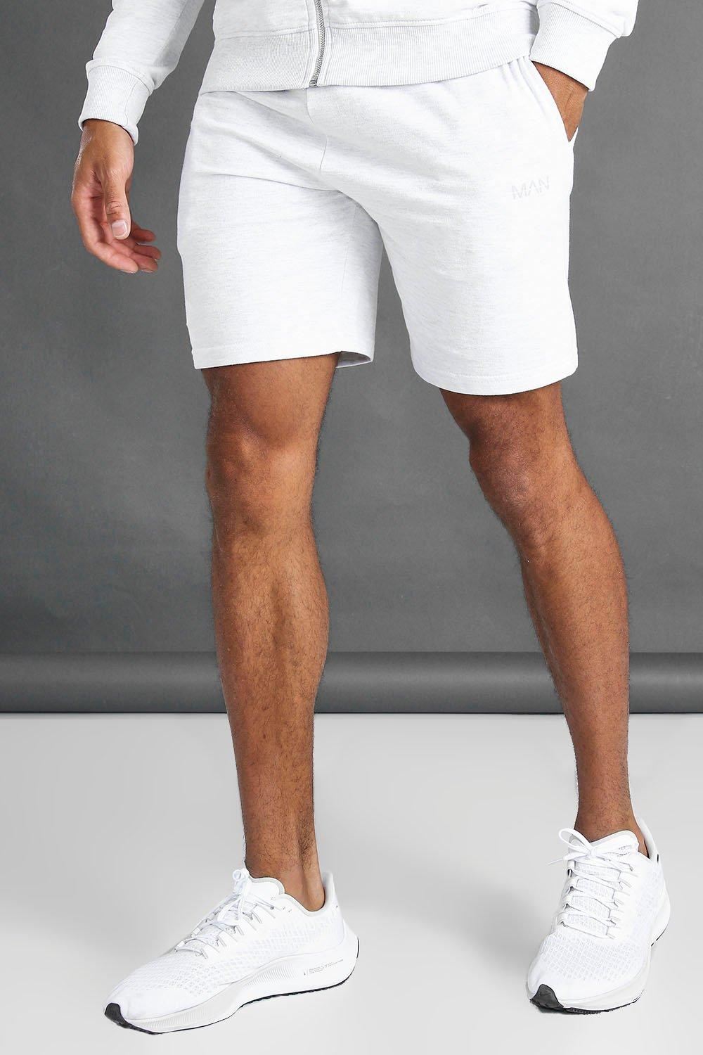 mens man mid length shorts with contrast drawcords - cream
