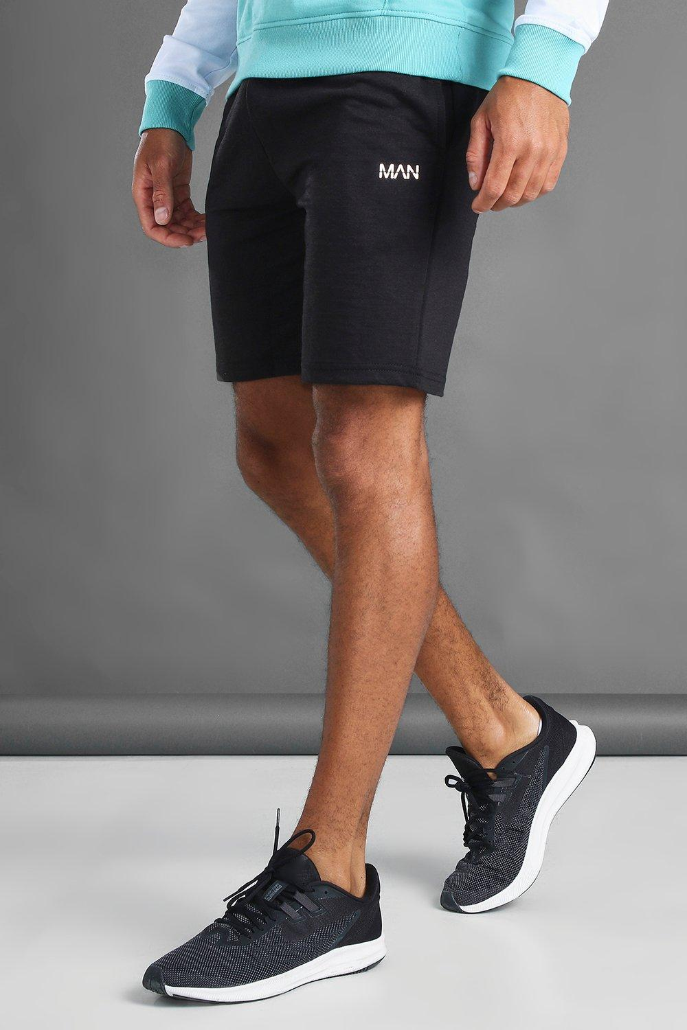 mens man mid length shorts with contrast drawcords - black