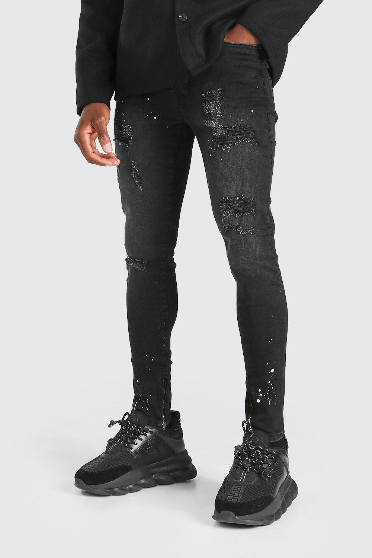 mens super skinny all over distressed jeans - black