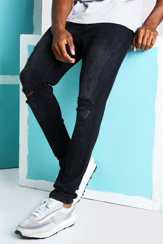 mens super skinny distressed busted knee jeans - black