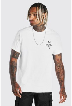 White Original MAN Cross Chest Print T-Shirt