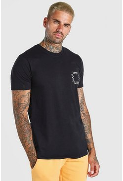 Black Original MAN Square Chest Print T-Shirt