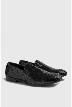Party-Slipper mit Pailletten, Silber, Herren
