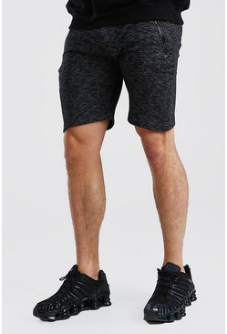 Black Marl Mid Length Jersey Short